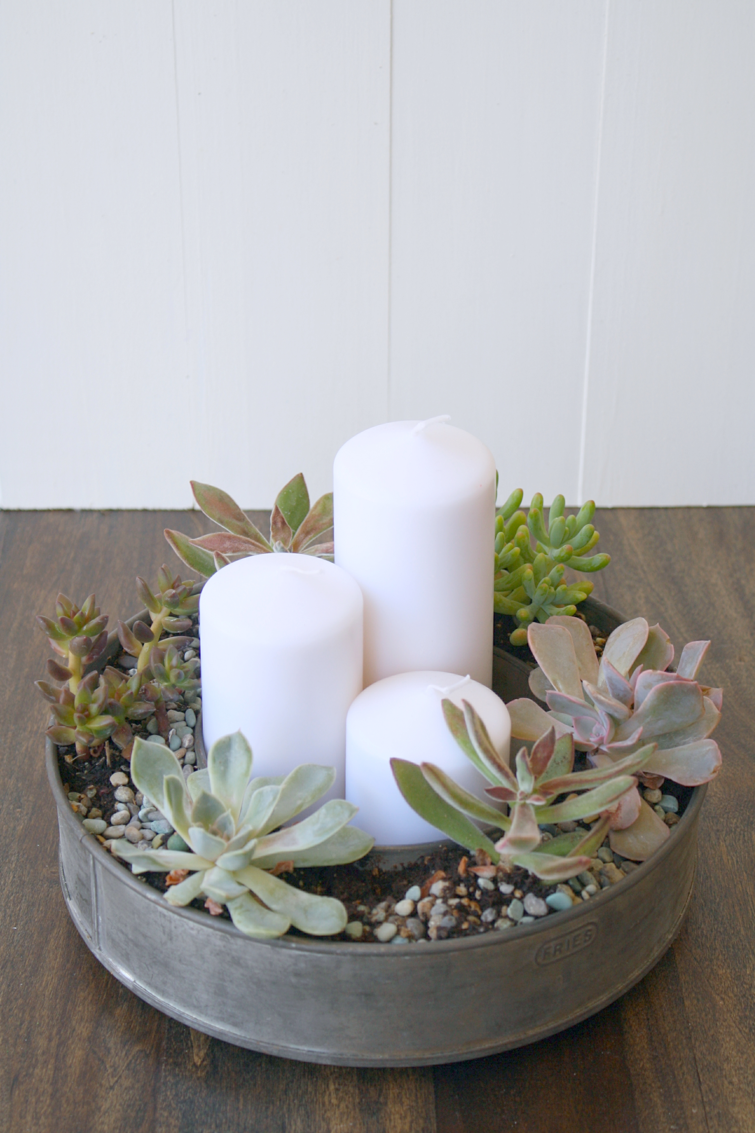 Succulents thrifty finds for Patio table centerpiece