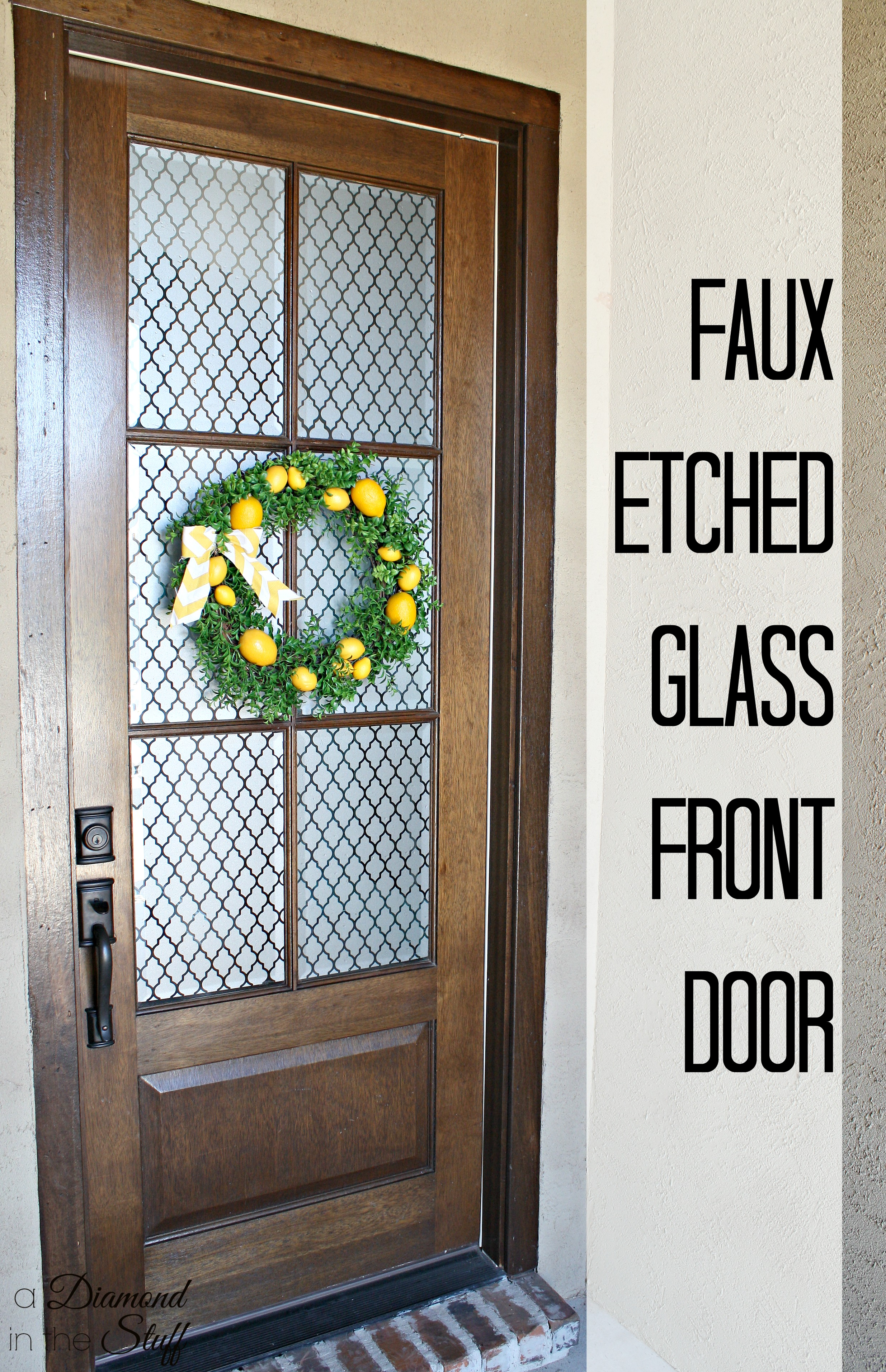 Faux etched glass front door for Glass front doors