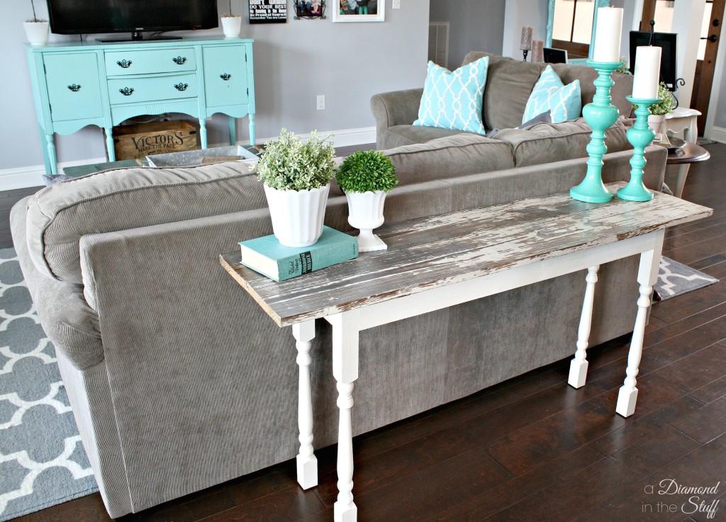 diy salvage sofa table. Black Bedroom Furniture Sets. Home Design Ideas