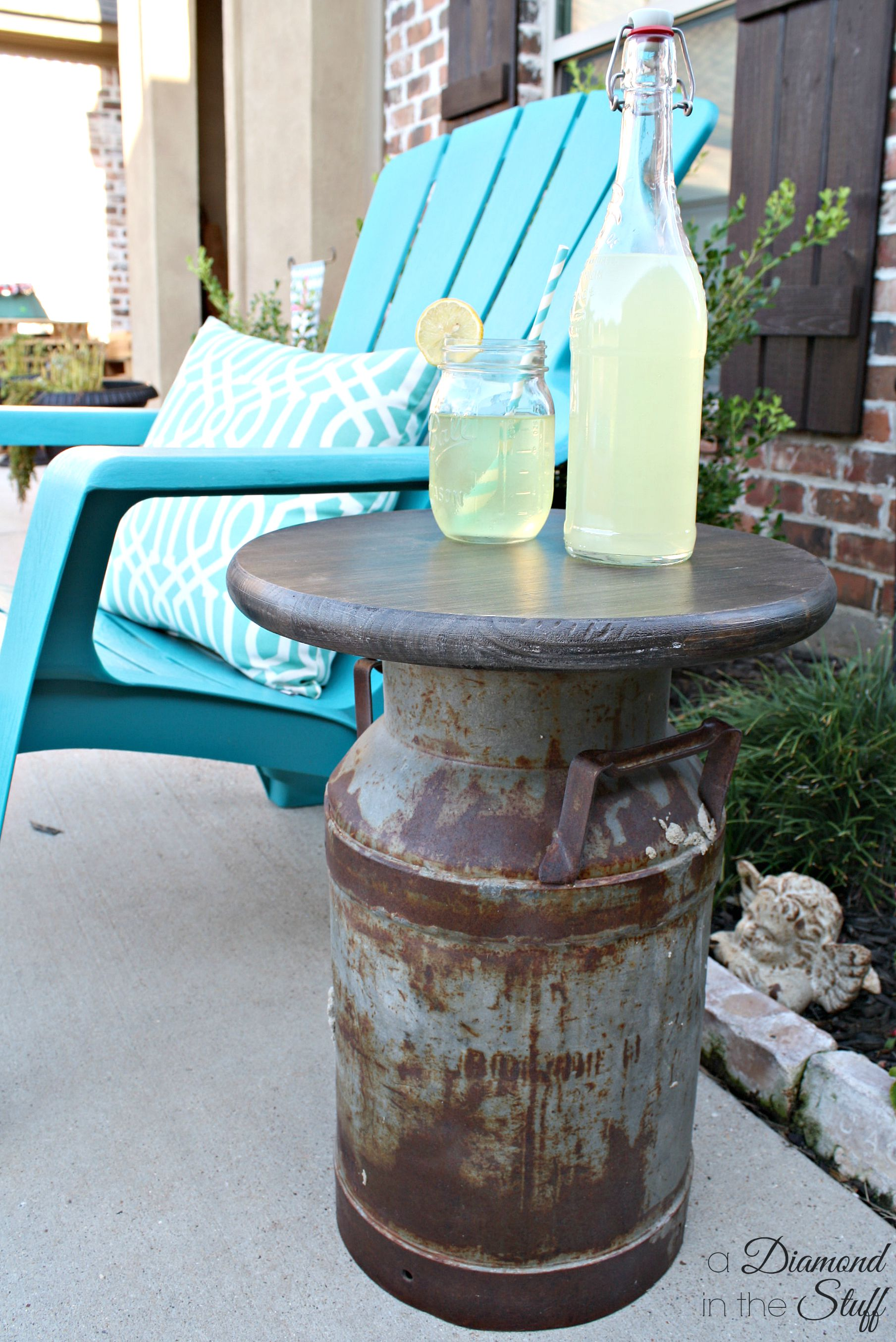 Milk can side table a diamond in the stuff for Repurposed milk cans