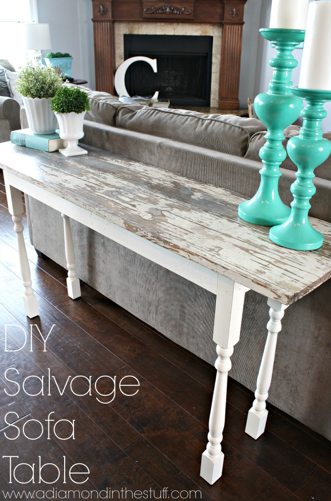 Diy salvage sofa table a diamond in the stuff bloglovin - Table console ancienne ...