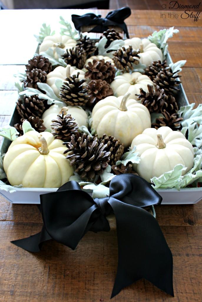 Pumpkins And Pinecones Centerpiece